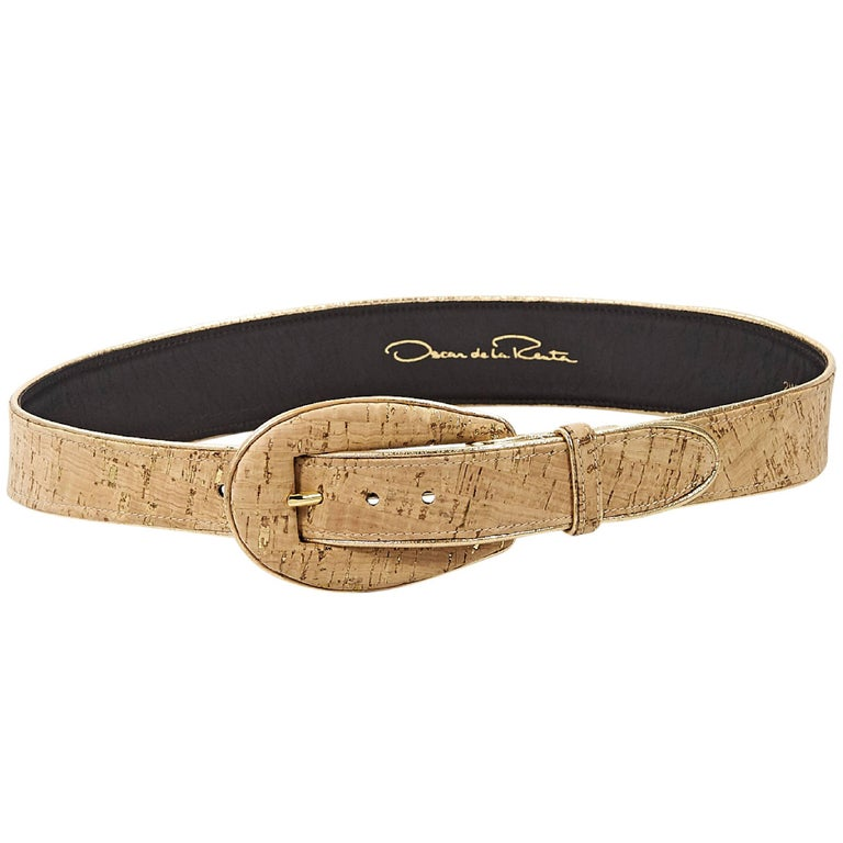Tan Oscar de la Renta Cork Belt