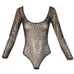 1990's Dolce & Gabbana Leopard Sheer Mesh Bodysuit Top
