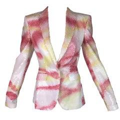 S/S 1997 Alexander McQueen Runway Spray Paint Sequin Blazer Jacket