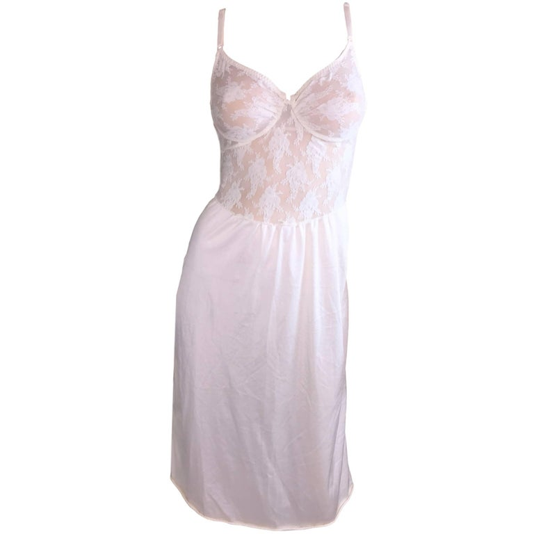 1990's Christian Dior Sheer Ivory Mesh Lace Underwire Slip Dress 34C