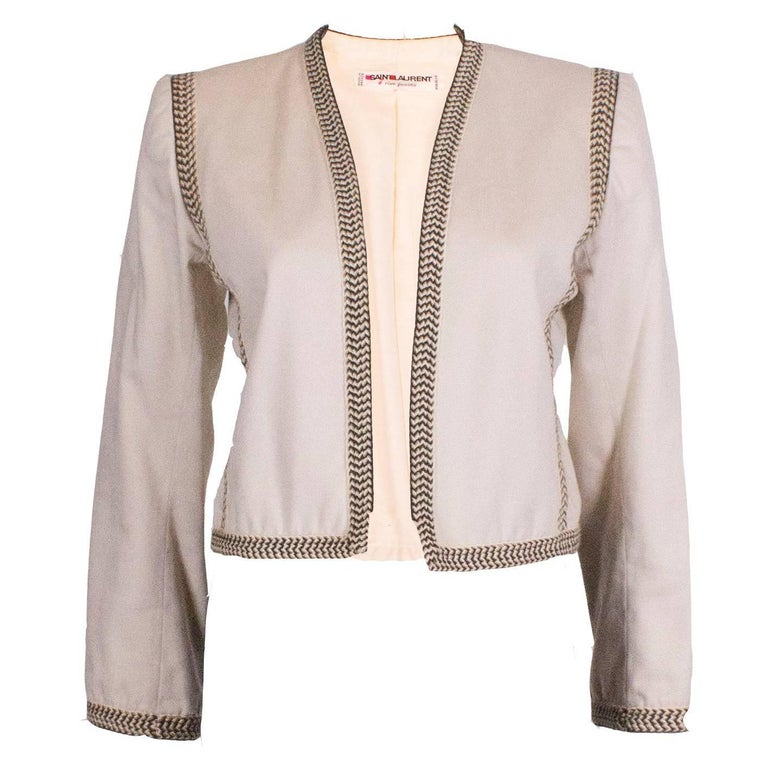 Yves Saint Laurent Rive Gauche White Jacket with Braid Trim