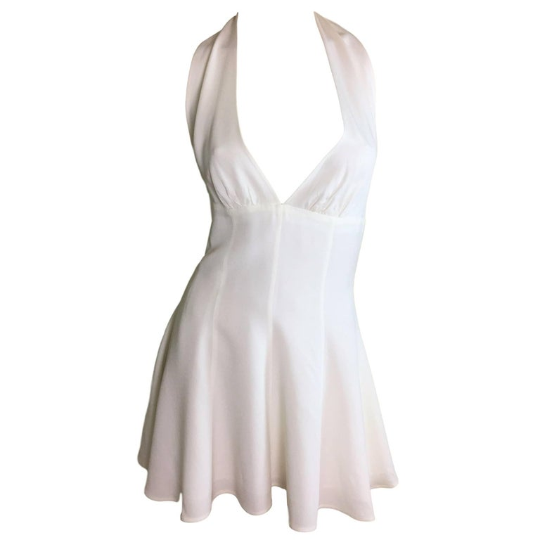 S/S 1995 Dolce & Gabbana Runway Ivory Plunging Marilyn Halter Skater Mini Dress