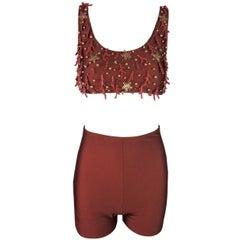1980's Dolce & Gabbana Star & Coral Embellished Crop Top Shorts Bikini Set
