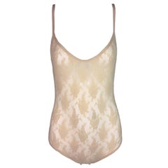 1990's Christian Dior Nude Mesh & Lace Plunging Sheer Bodysuit Top