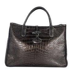 Bronze Longchamp Embossed Leather Tote Bag