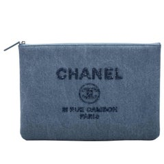 New Chanel Denim Sequins Large Clutch Bag