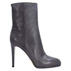 Dove Grey Sergio Rossi Leather Ankle Boots