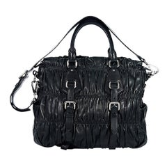 Black Prada Nappa Leather Gaufre Satchel