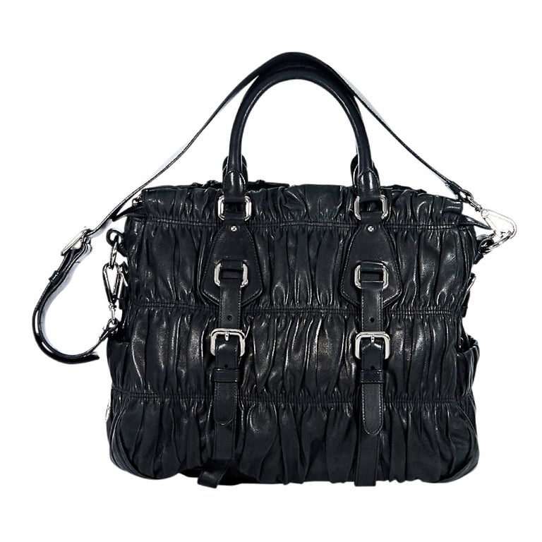 Black Prada Nappa Leather Gaufre Satchel For Sale