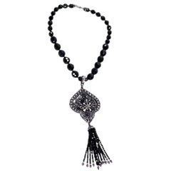 Black Barrera Crystal Statement Necklace