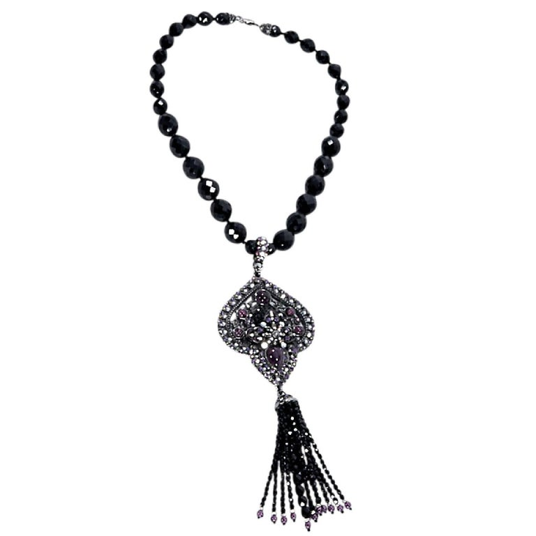 Black Barrera Crystal Statement Necklace For Sale