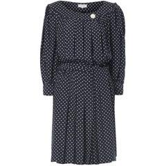 Yves Saint Laurent Navy polka dot dress, circa 1974