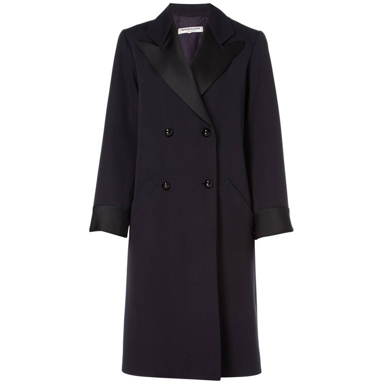 Yves Saint Laurent Navy coat, circa 1981 For Sale