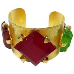 Dominique Aurientis Paris Vintage Multi-Color Stone Cuff Bracelet
