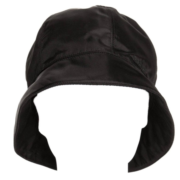 Prada Black Nylon Bucket Cap For Sale
