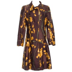 New Oscar de la Renta F/W 2008 Collection Silk Wool Printed Coat US 6