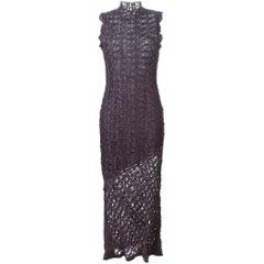 1990s JOHN GALLIANO Purple long lace dress