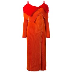 ISSEY MIYAKE asymmetric pleated dress with a double collar