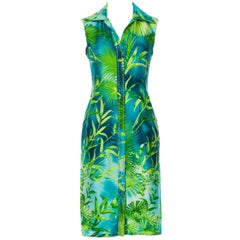 Iconic Gianni Versace S/S 2000 Green Jungle Print Silk Embellished Dress It. 38