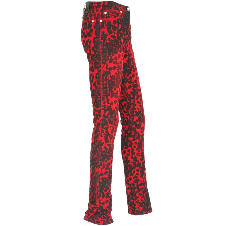 New $795 Versace Red Black Medusa Leopard Graphic Print Stretch Denim Jeans S, M 1