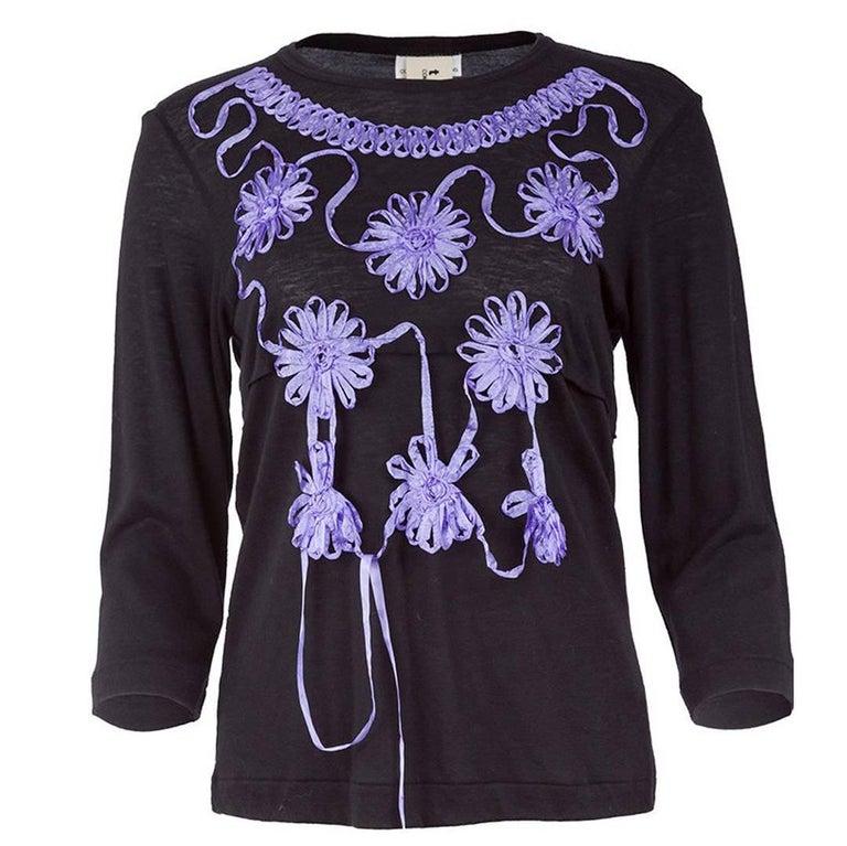 Tao comme des gar ons ribboned flower applique t shirt for for Applique shirts for sale