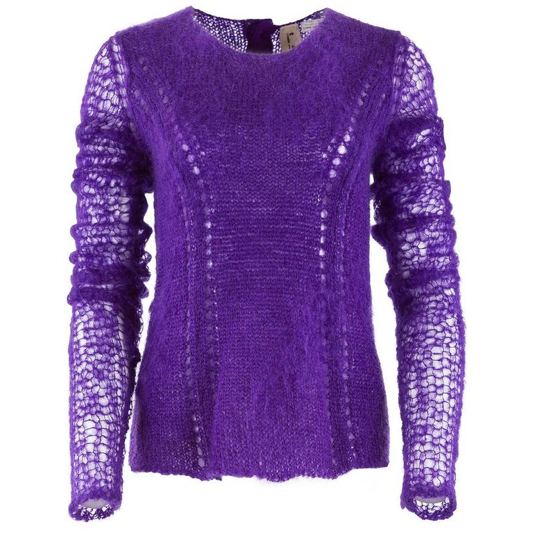TAO by COMME DES GARÇONS Purple Mohair Button Back Sweater