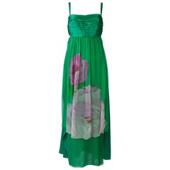 Green Silk Empire Waist Dress with Foral Pattern