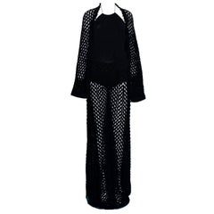 Amazing Chanel Black Crochet Knit Pants Jacket Swimsuit Bodysuit Ensemble Set
