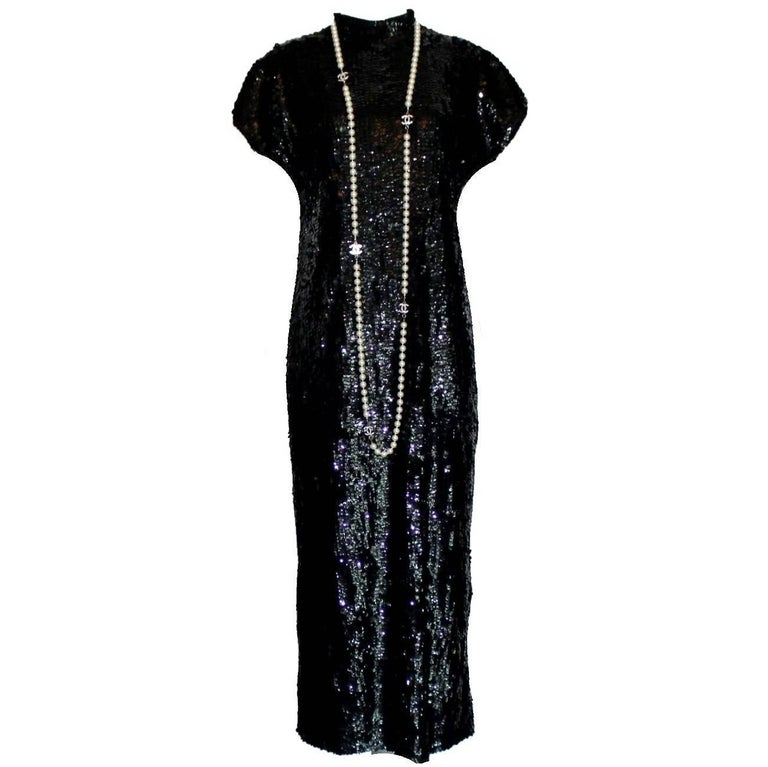 Chanel Boutique Vintage Black Sequin Evening Dress 1980s 1990s