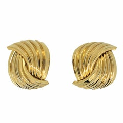 Christian Dior 1980s Gold Plated Vintage Knot Earrings
