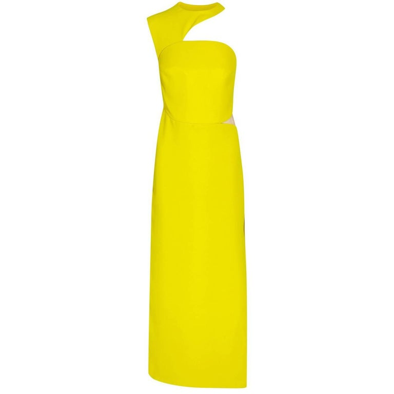 New Versace Yellow Cut Out Long Dress as seen on Minnie