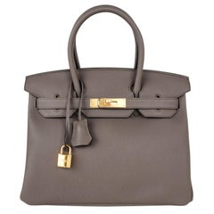Hermes Birkin 30 Bag Etain Gray Gold Hardware Togo Leather