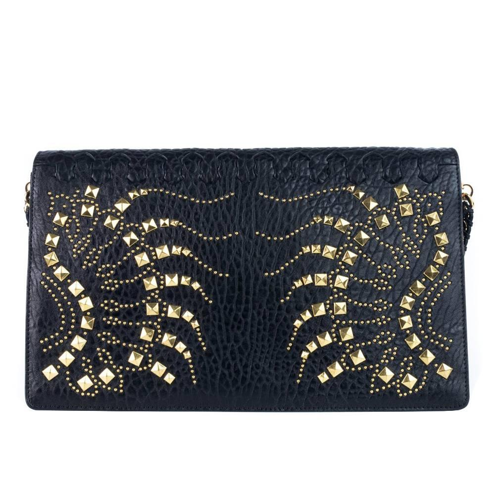 1stdibs Vintage Black Leather Portrait Art Beaded Clutch With Optional Gold Chain EWvnif