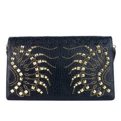 Roberto Cavalli Women's Black Leather Large Regina Clutch