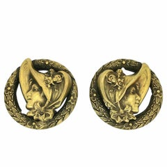 Joseff of Hollywood 1940s Victorian Lady Design Vintage Earrings