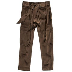 Roberto Cavalli Chocolate Brown Silk Gaucho Pants