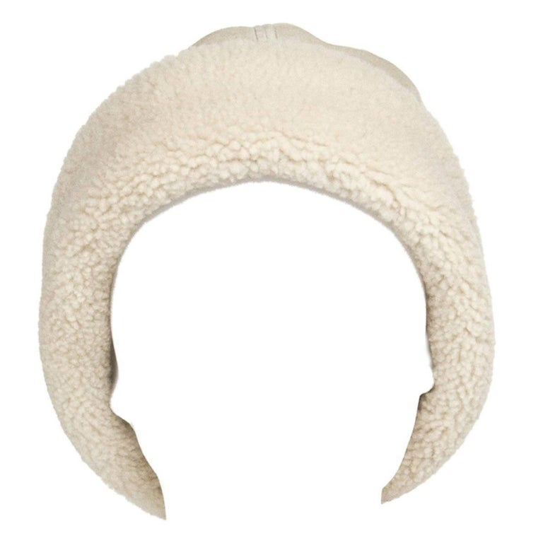 Prada Ivory Suede & Shearling Cap For Sale