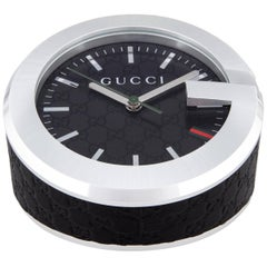 Gucci New Men's Black Leather Stainless Steel Table Desk Clock in Box
