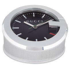 Gucci New Men's Silver Stainless Steel Table Desk Clock in Box