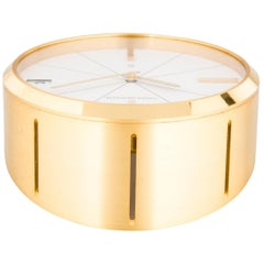 Jaeger-LeCoultre Vintage Gold Brass Men's Winding Table Desk Clock in Box