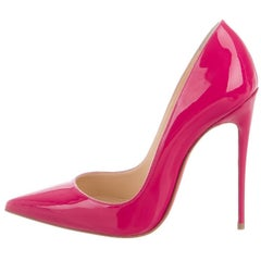 Christian Louboutin New Fuchsia Patent Leather So Kate High Heels Pumps in Box