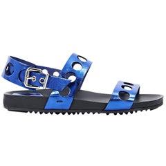 Metallic Blue Fendi Leather Flat Sandals