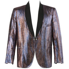 TOWNCRAFT CLOTHES c.1960's Iridescent Metallic Lame Tuxedo Smoking Jacket
