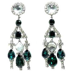 Long Wow Kenneth J. Lane Green & Clear Crystals Earrings