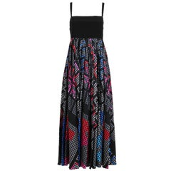 Chanel Empire Waisted Silk Gown w/Techno Printed Pleated Skirt