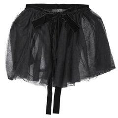 Lanvin Black Tulle Sheer Wrap Skirt