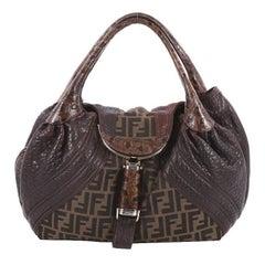 Fendi Tortoise Spy Bag Zucca Canvas and Leather