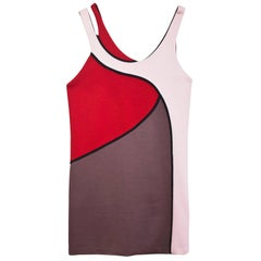Marni Pink & Red Wool Colorblock Dress Sz IT40