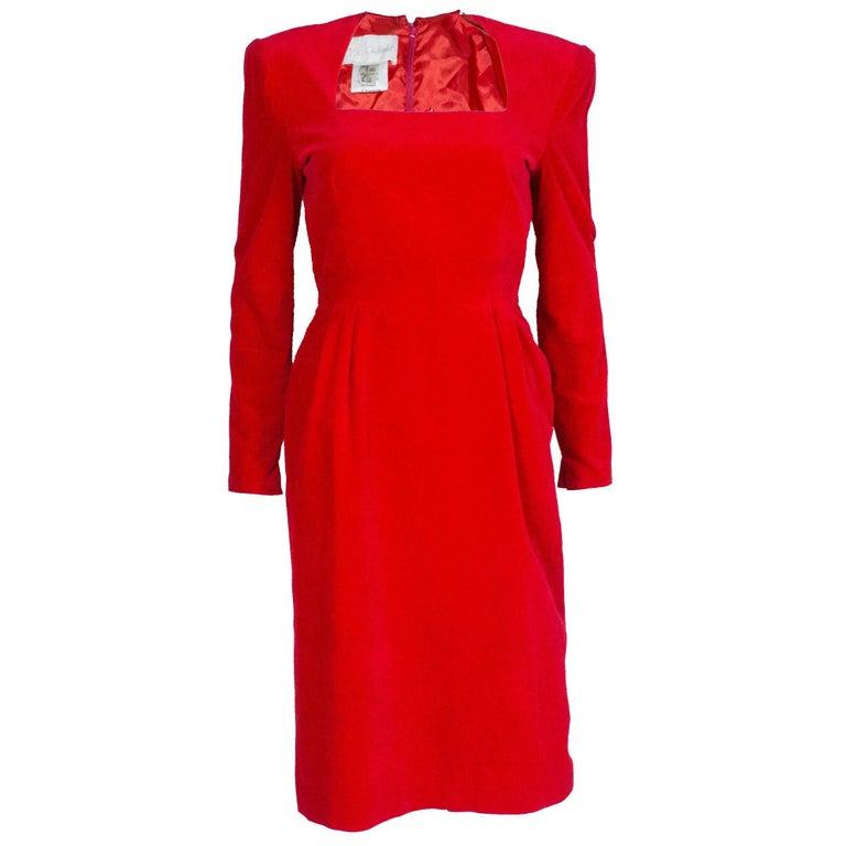 Bruce Oldfield Vintage Red Velvet Dress