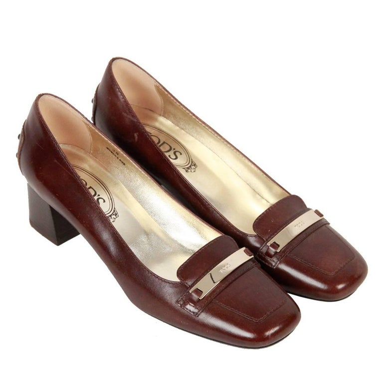 TOD'S Brown Leather SLIP ON PUMPS Shoes HEELS Size 38 For Sale
